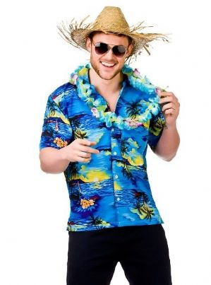 Hawaiian Shirt Blue Palm Trees XL (EM3204)